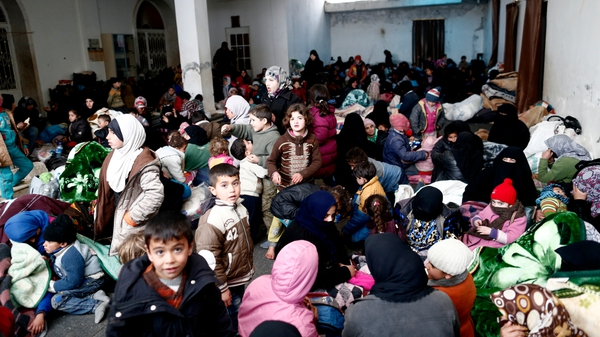 Thousands of Syrians, mostly women and children, have fled toward the Turkish border since Friday from the northern Syrian city of Aleppo