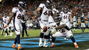 CJ Anderson of the Denver Broncos celebrates after scoring a two-yard touchdown in the fourth quarter