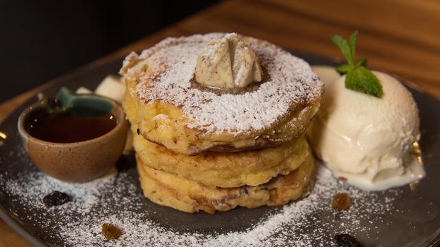 Apple and pecan pancakes with vanilla ice-cream