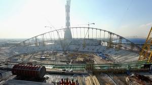 Construction work the Khalifa International Stadium ahead of the 2022 World Cup in Qatar