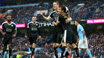 Robert Huth (second right) was twice on the mark for Leicester in the win over Man City