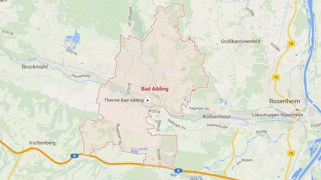 The collision happened near Bad Aibling in the southeastern corner of Germany (Pic: Google maps)