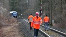 Rescue teams work at the site of the train accident near Bad Aibling
