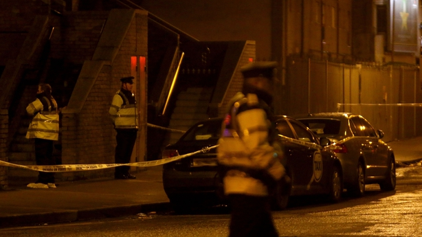 Gardaí on Poplar Rd after the shooting