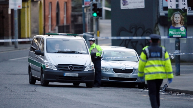 Gardaí at the scene in Ballybough this morning