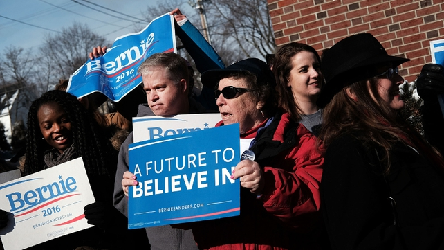 Supporters of Bernie Sanders on the streets ahead of the vote