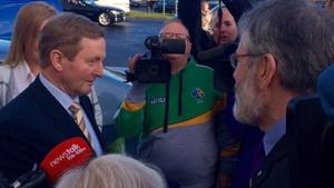 Enda Kenny and Gerry Adams bumped into each other in Sligo. Pic: Samantha Libreri, Twitter