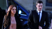 Adam Johnson arrives with girlfriend Stacey Flounders at the Crown Court