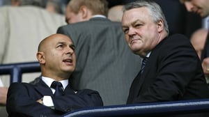 Phil Gartside (R) pictured with Tottenham chairman Daniel Levy