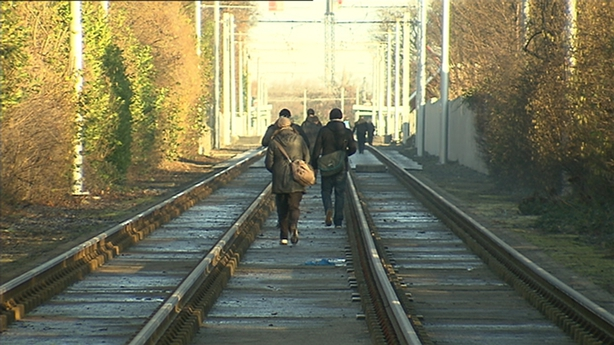 Some commuters walked along the line on strike days