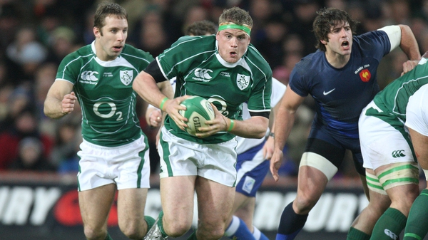 A young Jamie Heaslip in action against France at Croke Park during Ireland's 2009 Grand Slam winning season