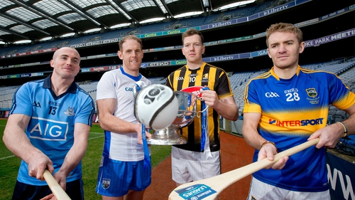 Dublin's David O'Callaghan, Kevin Moran of Waterford, Kilkenny's Walter Walsh and Noel McGrath of Tipperary at the Croke Park launch of the Allianz League
