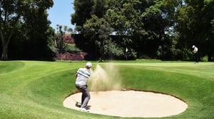 Harding finds his way out of the bunker during his first round at the Tshwane Open on Friday