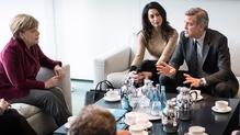 George Clooney and his wife Amal met German Chancellor Angela Merkel