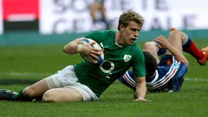 Andrew Trimble scores for Ireland against France in 2014
