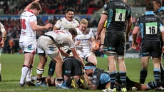 Ulster's Robbie Diack is tackled by Glasgow's Rob Harley and Gregor Hunter