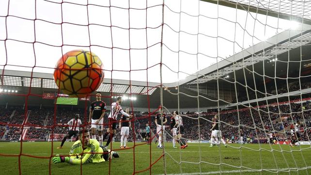 David De Gea looks on as Wahbi Khazri's free-kick finds the back of the Manchester United net