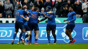 Maxime Medard celebrates his try with his France team-mates