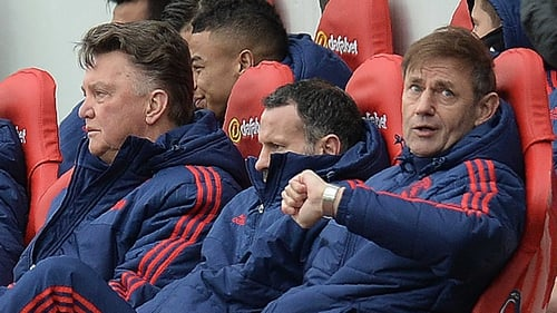 A glum-looking United bench at Sunderland today