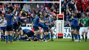 France's Maxime Machenaud celebrates the final whistle with team-mates