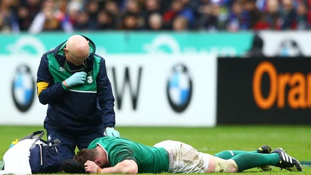 Sean O'Brien lies on the turf at Stade de France