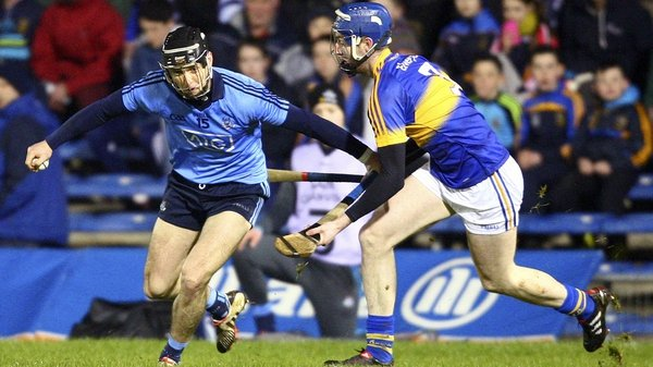 Dublin's Mark Schutte in action against Tipperary's Tomás Hamill