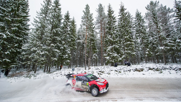 Craig Breen steers his Citroen around the icy course at Rally Sweden