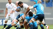 Billy Vunipola of England is tackled by Francesco Minto and George Biagi