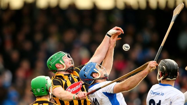 Waterford's Michael Walsh and Kilkenny's Diarmuid Cody have their eye on the sliotar at Walsh Park