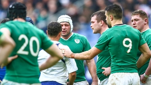 Rory Best talks to referee Jaco Peyper during the defeat to France