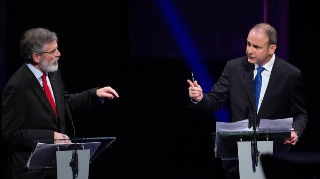 Gerry Adams and Micheál Martin clash