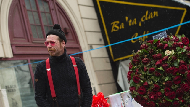 Jesse Hughes pays tribute to the victims of the Paris terrorist attacks in front of the Bataclan concert hall