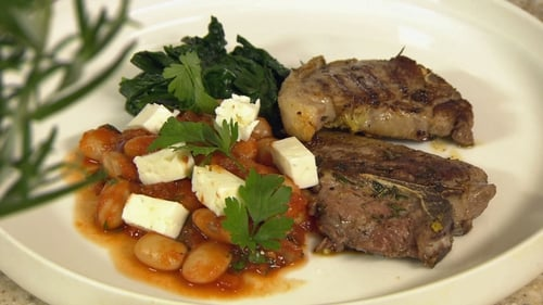 Seared Lamb Chops, Mediterranean Butter Bean Stew