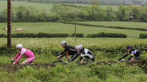An Post Rás riders pass over the Hill of Allen, Co Killdare