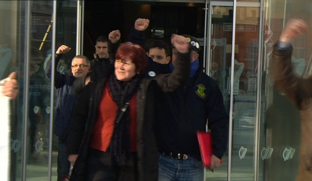 Joan Collins was accused of failing to comply with a garda's direction to leave the vicinity of the protest