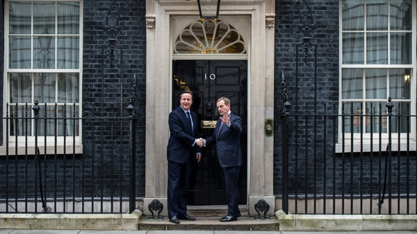 David Cameron greets Enda Kenny during his visit to the UK last month to discuss EU reform