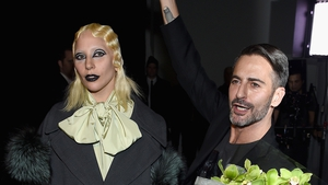 Lady Gaga and Marc Jacobs backstage after the show