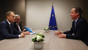 (L-R) European Council President Donald Tusk, European Commission President Jean-Claude Juncker and British Prime Minister David Cameron during the talks today