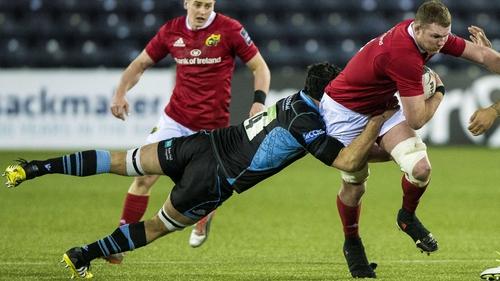 Glasgow Warriors' Tim Swinson tries to halt Donnacha Ryan