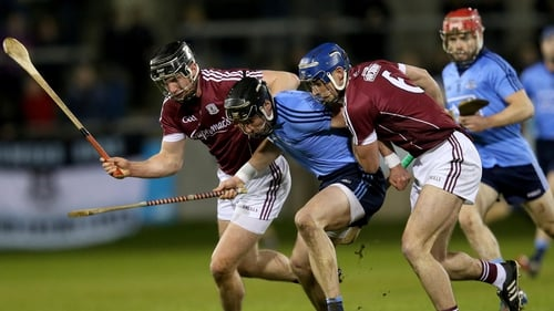 Dublin's Sean McGrath in a battle for possession with Greg Lally and Aidan Harte at Parnell Park