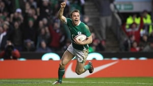 Bowe celebrates a try in Ireland colours
