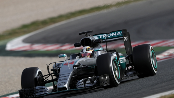 Lewis Hamilton in his Mercedes at the Barcelona testing