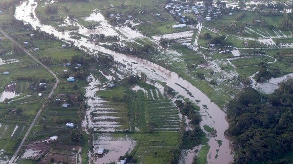 An aerial view of widespread floods caused by Tropical Cyclone Winston
