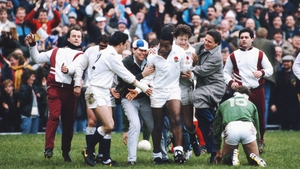 Chris Oti is congratulated by England fans after scoring a try in their 35-3 win in 1988