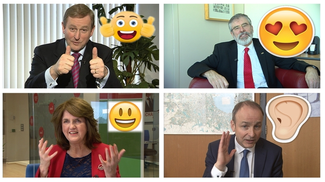 The four main party leaders  summed up their election campaigns with an emoji
