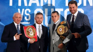Barry McGuigan (L) manages Carl Frampton (2nd L) who faces Scott Quigg in a super-bantamweight world-title unification bout in Manchester on Saturday