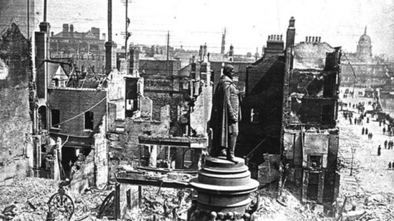 Ruins of Sackville Street immediately after the Easter Rising, 1916  Murtagh Collection RTÉ Stills Library