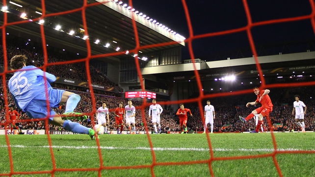 James Milner scores from the penalty spot for Liverpool