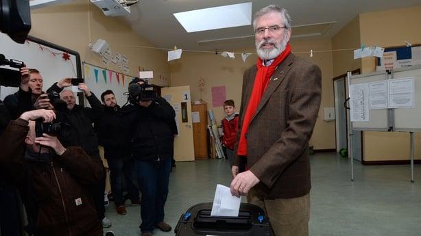 Gerry Adams casting his vote