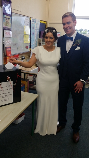 Newlyweds Jennifer Conroy and Brian Fahey cast their vote at Rhode National School, Co Offaly